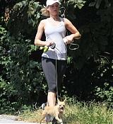 Jennifer Lawrence Walking Her Dog in Atlanta - September 20
