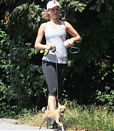 Jennifer Lawrence Walking Her Dog in Atlanta - September 20