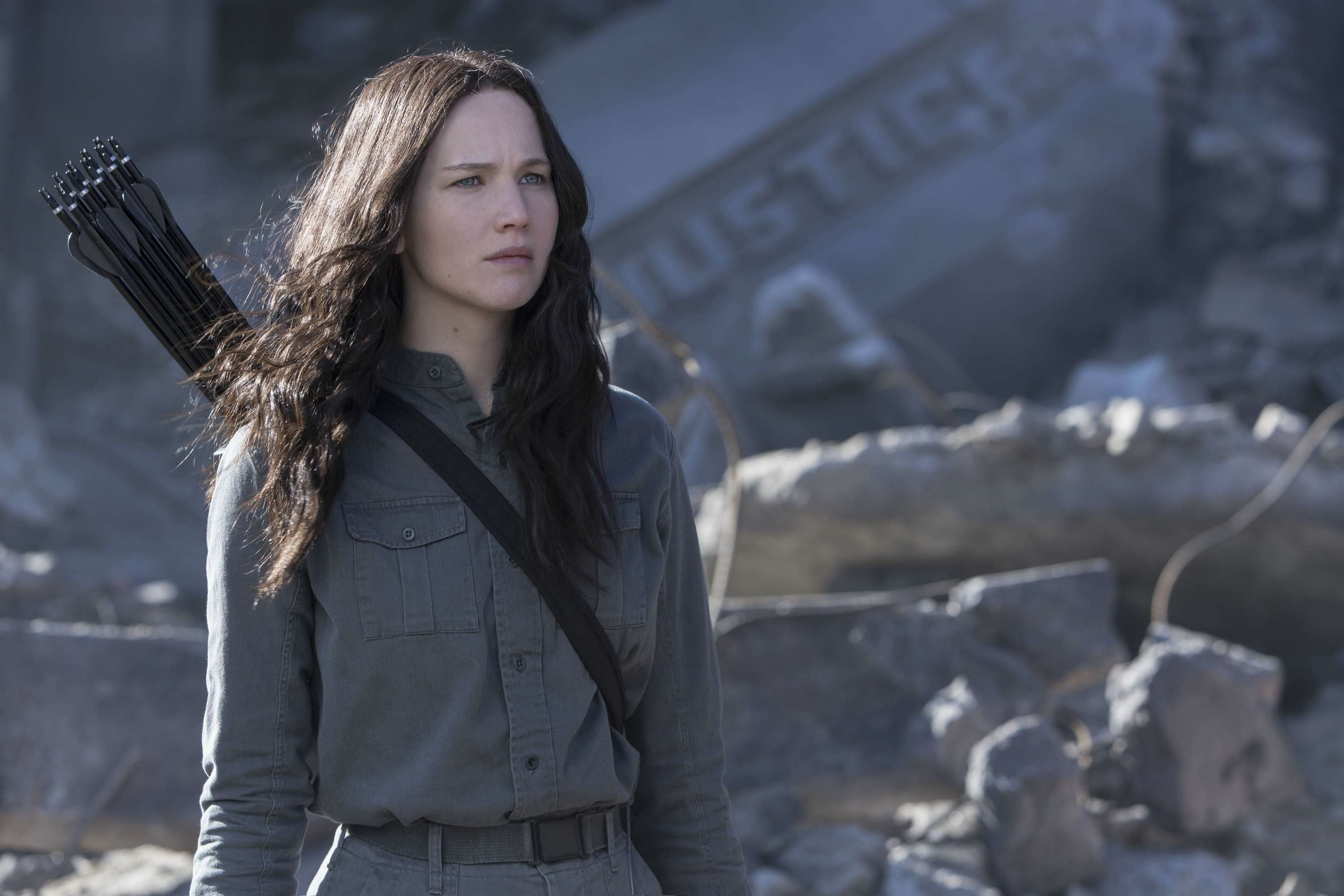 Jennifer Lawrence as Katniss Everdeen in Mockingjay Part 1